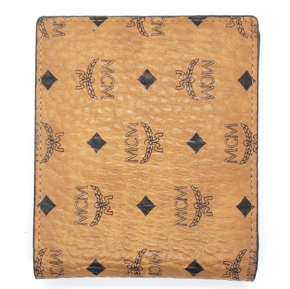 Authentic MCM Visetos Cognac Bifold Wallet